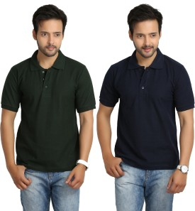 Weardo Solid Men's Polo Neck Blue, Green T-Shirt Pack Of 2