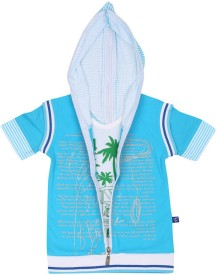 SPN Garments Printed Boy's Hooded Blue T-Shirt