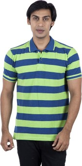 Stop To Start Striped Men's Polo Neck T-Shirt