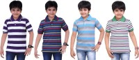 Dongli Striped Baby Boy's Polo Neck White, Light Blue, Blue, Purple T-Shirt (Pack Of 4)