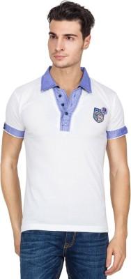 V9 Self Design Men's Polo Neck T-Shirt