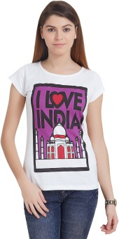The Indian Solid Women's Round Neck White T-Shirt