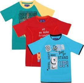 SPN Garments Printed Boy's Round Neck Blue, Orange, Green T-Shirt