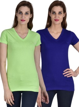 Youthen Solid Women's V-neck Blue, Green T-Shirt Pack Of 2