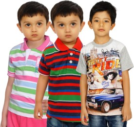Shaun Striped, Printed Boy's Polo Neck, Round Neck T-Shirt Pack Of 3