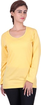 Vivid Bharti Solid Women's Round Neck Yellow T-Shirt