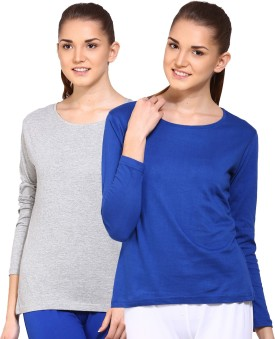 Ap'pulse Solid Women's Round Neck Blue, Grey T-Shirt Pack Of 2