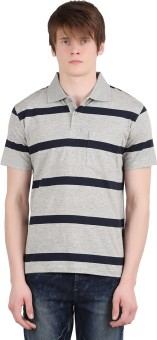 Moonwalker Striped Men's Polo Neck T-Shirt - TSHE9ZPU4MNFDW5R