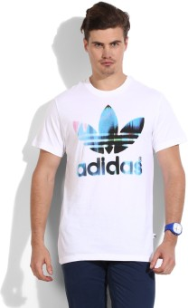 Adidas Originals Printed Men's Round Neck White T-Shirt