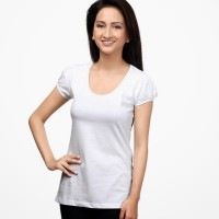 Happy Hippie Solid Women's Round Neck T-Shirt