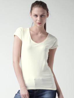Mast & Harbour Solid Women's Round Neck White T-Shirt