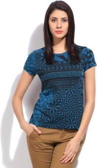 STYLE QUOTIENT BY NOI Printed Women's Round Neck Blue T-Shirt