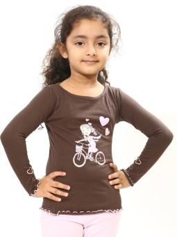 Bio Kid Designer Tee Long Sleeve Printed Baby Girl's Round Neck T-Shirt