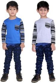 Illicit Nation Solid Boy's Round Neck Grey, Blue T-Shirt