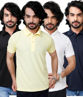 Elligator Black, Yellow, Navy Blue & White Cool Solid Men's Polo Neck T-Shirt (Pack Of 4)