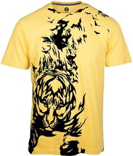 Huetrap Crouching Tiger Yellow Graphic Print Men's Round Neck T-Shirt