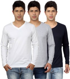 Top Notch Solid Men's V-neck White, Grey, Blue T-Shirt