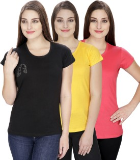 NGT Solid Women's Round Neck Pink, Black, Yellow T-Shirt Pack Of 3 - TSHEJ3YBH8ZGFGY7