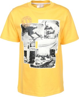 Joshua Tree Printed Boy's Round Neck Yellow T-Shirt