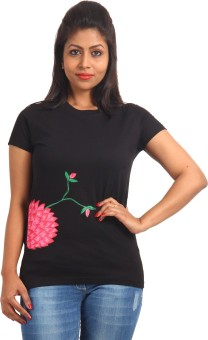EthnicShack Lotus On The Side Self Design Women's Round Neck T-Shirt