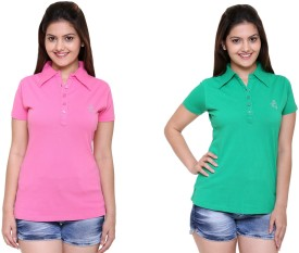IN Love Self Design Women's Flap Collar Neck Pink, Green T-Shirt Pack Of 2