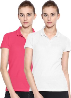 Polo Nation Solid Women's Polo Neck White, Pink T-Shirt Pack Of 2