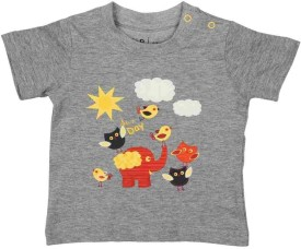 Baby Pure Sun Day Grey Printed Baby Boy's Round Neck T-Shirt