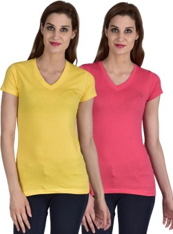 Youthen Solid Women's V-neck Yellow, Pink T-Shirt Pack Of 2