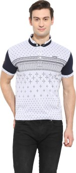 Duke Stardust Printed Men's Mandarin Collar Grey T-Shirt