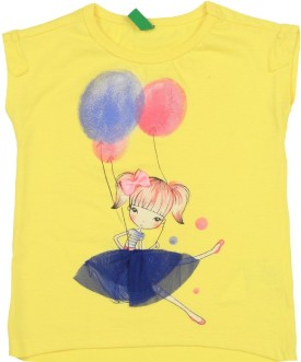 United Colors Of Benetton Printed Girl's Round Neck Yellow T-Shirt