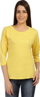 Threadz Solid Women's Round Neck Yellow T-Shirt