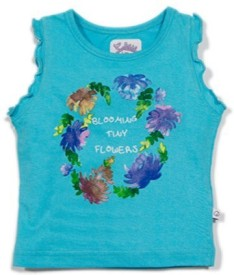 Solittle Applique, Printed Baby Girl's Round Neck Blue T-Shirt