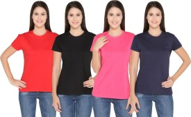 Ten On Ten Solid Women's Round Neck Red, Pink, Black, Blue T-Shirt Pack Of 4