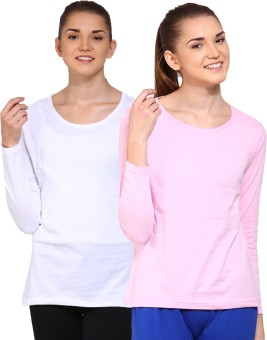 Ap'pulse Solid Women's Round Neck White, Pink T-Shirt Pack Of 2