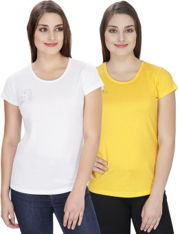 NGT Solid Women's Round Neck Yellow, White T-Shirt Pack Of 2