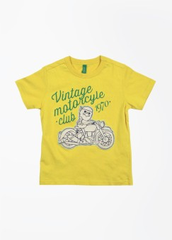 United Colors Of Benetton Printed Boy's Round Neck Yellow T-Shirt