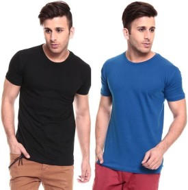 Lowcha Solid Men's Round Neck T-Shirt Pack Of 2