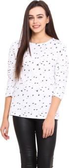 Hitobito Printed Women's Round Neck Black, White T-Shirt