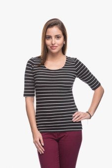Cotton World Solid Women's Round Neck Black T-Shirt