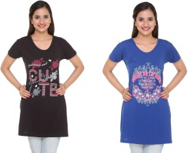 IN Love Graphic Print Women's Round Neck Blue, Black T-Shirt Pack Of 2