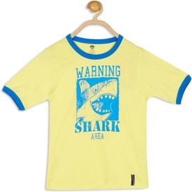 612 League Printed Boy's Round Neck Yellow T-Shirt