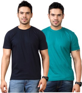 Top Notch Solid Men's Round Neck Dark Blue, Dark Green T-Shirt Pack Of 2