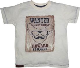 FS Mini Klub Printed Boy's Round Neck White T-Shirt