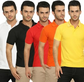 Fundoo-T Polo T-Shirt Solid Men's Polo Neck T-Shirt (Pack Of 5)