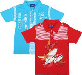 SPN Garments Printed Boy's Polo Neck Red, Blue T-Shirt Pack Of 2