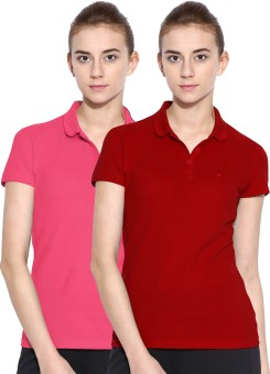 Polo Nation Solid Women's Polo Neck Red, Pink T-Shirt Pack Of 2