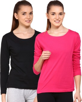 Ap'pulse Solid Women's Round Neck Black, Pink T-Shirt Pack Of 2