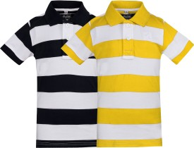 The Cotton Company Printed Boy's Polo Neck Black, White, Yellow T-Shirt Pack Of 2
