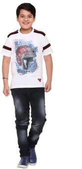 LITTLE MARCO Graphic Print Boy's Round Neck White T-Shirt