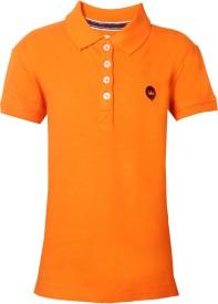 Vitamins Solid Girl's Polo Neck Orange T-Shirt
